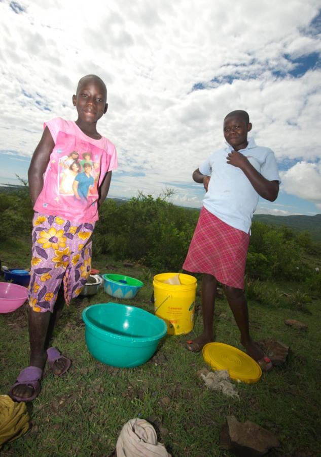 Girls washing dishes