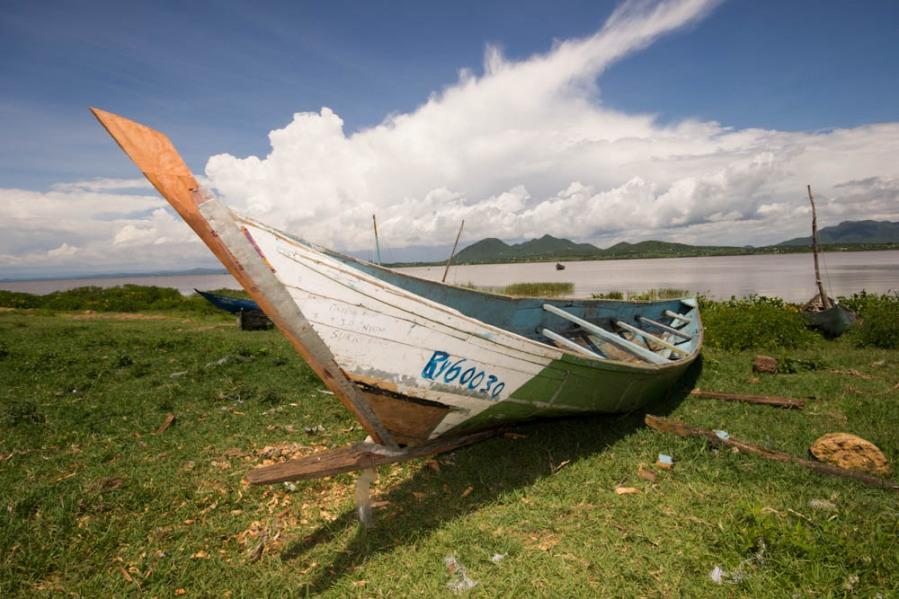 Boat on Lake Victoria shore