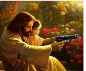 jesus and a hand gun